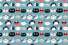 8 Fun bright patterns with cats by Tanor on @creativemarket