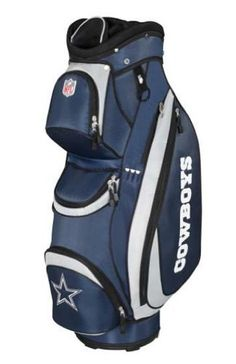 """NFL Dallas Cowboys Wilson Cart Golf Bag (10 x 9-Inch) by Wilson. $159.99. This Wilson NFL golf cart bag comes with a huge amount of features and is designed in team colors complete with team name, logo and colors. Features : New 10"""" x 9"""", 14-way divider top, Tube construction, Premium diamond rip-stop fabric, 7 pockets, 2 large, side clothing pockets, 1 side accessory pocket, 1 side valuable pocket, 1 top, front range finder pocket, 1 middle, front ball / accessories pocket, 1 l..."""