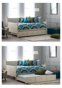 Finally, a daybed you can really stretch out on! Found only at hayneedle.com, this bedtakes the versatile daybed design and supersizes it. The full size offers plenty of room for sleeping, reading, and lounging in any room. This exclusive full daybed even comes with an optional twin-sized roll-out trundle drawer. Use it empty for blanket and linen storage, or put up to an 8-inch-thick mattress inside to accommodate even more overnight guests!