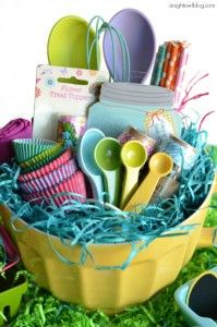 Easter is approaching and we all know what that means: sugar highs, rationing candy, and inevitably, tantrums. As I began thinking about Easter baskets this year, I realized it doesn't HAVE to include candy. Diy Gift Baskets, Raffle Baskets, Basket Gift, Theme Baskets, Easter Gift Baskets, Picnic Baskets, Cupcake Gift Baskets, Creative Gift Baskets, Themed Gift Baskets