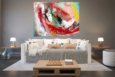 Large Painting on Canvas,Original Painting on Canvas,painting original,unique bedroom decor,modern wall canvas FY0016
