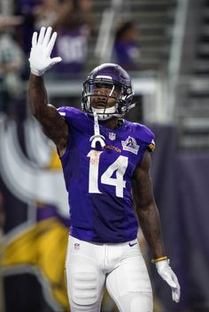 Minnesota Vikings wide receiver Stefon Diggs celebrates against the Green Bay Packers at U. The Vikings defeated the Packers Minnesota Vikings Football, Best Football Team, Football Players, Football Helmets, Vikings Cheerleaders, Stefon Diggs, Viking 1, Wide Receiver, Carolina Panthers