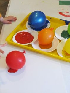 Balloon Painting! (could be fun for the whole class as a group painting, everyone has a balloon)