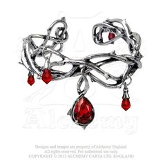 """Passion - A pewter bangle style bracelet of thorns. This tangled cuff of spikes is encrusted with drops of blood red Swarovski crystals. One size, adjustable covering from Small (6"""" - 7.5"""") to Large (7.5"""" - 9.5""""). To fit this bangle bracelet, gently squeeze the metal open or closed, to fit the around your wrist. $59.00 each.  Also part of a set, see the site for the rest."""