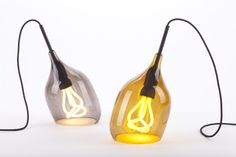 The Vessel lights showing off the Plumen bulb - grey or bronze glass