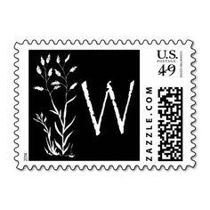 W Monogram (Black Lavender Plant) Postage Stamp