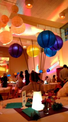 Paper lantern centerpieces and misc Purple yellow and turquoise- Seattle :  wedding teal blue purple yellow Centerpiece Glowing