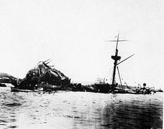 The sunken USS Maine in Havana Harbor in February 1898