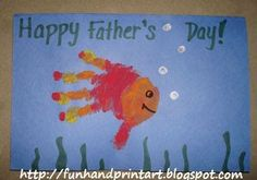 Handprint and Footprint Arts & Crafts: Adorable Handprint Father's Day Card