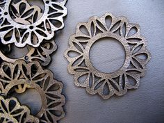 Leather Silver Metallic  Rounds/ Leather Embellishments/Laser cut/ Custom Orders - Using several leather embellishments can be bring texture & interests to your leather wedding gown.
