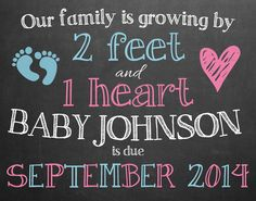 Pregnancy Announcement Chalkboard // Photo Prop by MMasonDesigns Pregnacy Announcement, Gender Reveal Announcement, First Baby, Baby Baby, Baby Shower Gender Reveal, Baby On The Way, Everything Baby, Baby Family, Baby Time