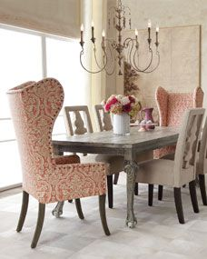 Haute House Liday Dining Table, Benjamin Linen Chair, and Pink Damask Wing Chair