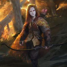 f Elf Ranger Leather Longbow camo forest hills RPG Female Character Portraits : Photo