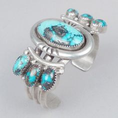 Silver cuff with Persian turquoise stones c. 1970