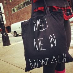Canvas Tote Bag Meet me in Montauk Recycled by TuristaClothing