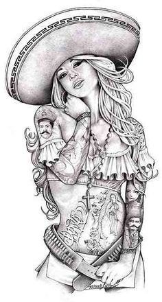 love charra by mouse lopez sexy tattooed chicano woman tattoo canvas art print sexy-latina-woman tattooed-latina-woman sombrero pin-up alternative-artwork Arte Cholo, Cholo Art, Art Chicano, Chicano Tattoos, 2pac Tattoos, Sexy Tattoos, Stretched Canvas Prints, Canvas Art Prints, Blonde Tattoo