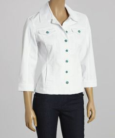 Love this White Denim Jacket - Women by Live A Little on #zulily! #zulilyfinds