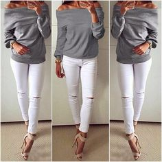 """""""Get into the festive mood with this grey boat neck off-shoulder sweatshirt. #newin #stylish #lookbookstore (Shop link in bio)"""" Photo taken by @lookbookstore on Instagram, pinned via the InstaPin iOS App! http://www.instapinapp.com (11/02/2015)"""