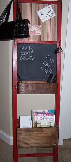 """This is an awesome """"Message Center"""" lots of ideas, hang your keys, purse mail et. Bunk Bed Ladder, Wood Crafts, Diy Crafts, Decor Crafts, Wooden Screen Door, Kids Wood, Old Doors, Crafty Projects, Getting Organized"""