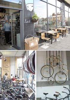 visted this shop/cafe in London Fields last week Bycicle Pictures, Bycicle Trailer Bicycle Cafe, Bicycle Store, New Bicycle, Pimp Your Bike, Cargo Bike, Shop Interiors, Design Interiors, Cafe Design, Store Design