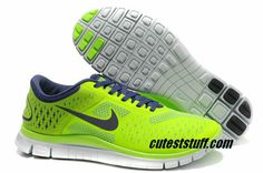$54.29   Mens Nike Free 4.0 V2 Fluorescence Green Deep Purple Shoes