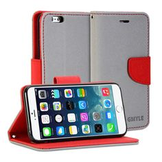 iPhone 6 Plus Case, GMYLE [Wallet Stand] iPhone 6 Plus 5.5 Case Wallet [Silver Grey & Red] Premium Synthetic Leather Wallet Case Cover with STAND Flip Cover for iPhone 6 Plus (5.5) - Silver Grey & Red. Magnetic closure flap - Protects your device from accidental hard knocks and scratches. Wallet case design - Build in Card Slots and cash compartment. Durable - Not easily fade in color, high quality. Slim design with stand function. Plug your charger, cable or headset without removing the…