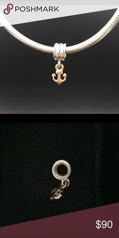 """Pandora Charm New (Retired) Pandora """"Anchor"""" charm. Sterling silver and 14K gold.  Properly hallmarked S925 ALE. Pandora box not available. No trades or pp. Thank you and happy Poshing!! Pandora Jewelry Bracelets"""