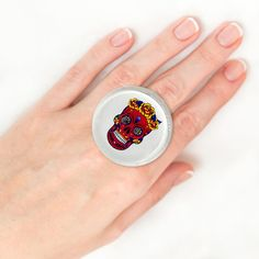 Items similar to Sugar Skull ring Bohemian ring Creative ring Romantic ring for girlfriend Wide ring Alternative ring Open ring Epoxy resin ring Dainty ring on Etsy Unique Rings, Unique Jewelry, Vintage Rings, Gemstone Rings, Skull, Boho, Trending Outfits, Handmade Gifts, Accessories