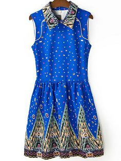Blue Lapel Sleeveless Galaxy Print Dress US$23.57