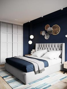 bohemian boho bedroom design of blue bedroom idea wall decor ., bohemian boho bedroom design of blue bedroom idea wall decor design. Blue Bedroom Decor, Bedroom Colors, Home Bedroom, Master Bedroom, Bedroom Inspo, Navy Blue Bedrooms, Blue Bedroom Walls, Bedroom Ideas Paint, Square Bedroom Ideas