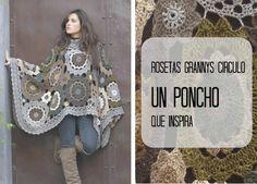Patrones Crochet: Poncho rosetas grannys circulares
