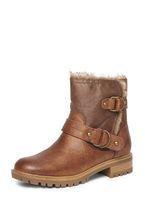 Womens Tan 'Ariah' Faux Fur Biker Boots- Brown