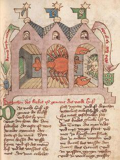 Eberhard Karls Universität Tübingen, Md 2, detail of f.78r (Cancer). Tübinger Hausbuch: Iatromathematisches Kalenderbuch; die Kunst der Astronomie und Geomantie. Württemberg, 15th century.