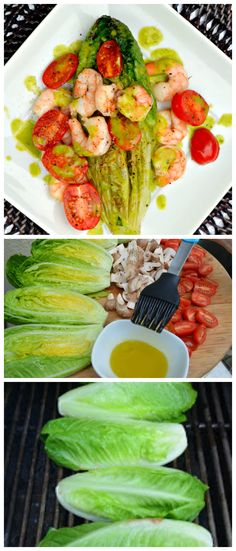 Grilled Romaine Hearts Tomatoes & Shrimp With A Basil Vinaigrette, light, healthy and perfect for summer. serenabakessimplyfromscratch.com