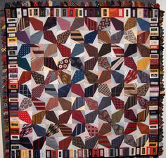 Quilt Inspiration: Necktie quilts for Dad.  Notice use of stripes.