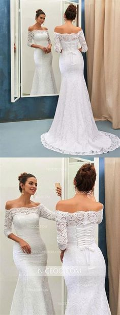 Elegant White Mermaid Off Shoulder Empire Waist Lace Wedding Dress Bridal . - Elegant White Mermaid Off Shoulder Empire Waist Lace Wedding Dress – Wedding Dresses – - Inexpensive Bridesmaid Dresses, Affordable Wedding Dresses, Cheap Wedding Dress, Cheap Dresses, Deb Dresses, Lace Mermaid Wedding Dress, Wedding Dress Sleeves, Lace Wedding, Wedding White