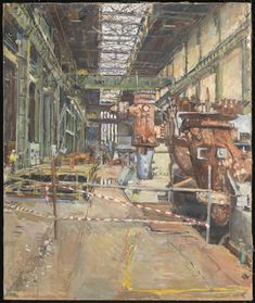 Anthony Eyton RA Bankside -The Turbine Hall Must find a larger resolution, one of my favourite paintings. Turbine Hall, Steam Turbine, St Lawrence College, London Art, Modern Sculpture, Urban Landscape, Cool Artwork, Installation Art, Pictures