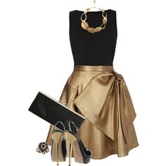 """Breath of Elegance"" black and gold kind of a situation... #thisdress... black and gold dress with big bow..."