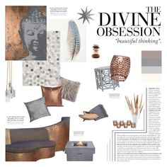 """""""Serenity Living"""" by happilyjynxed ❤ liked on Polyvore featuring interior, interiors, interior design, home, home decor, interior decorating, NOVICA, Safavieh, Howard Elliott and Ebb & Flow"""