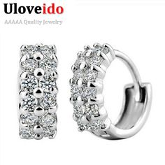 Find More Stud Earrings Information about Fashion Silver Earrings for Women Crystal Vintage Jewelry New 2016 Zircon Simulated  Diamonds Korean Earring Brinco Ulove Y043,High Quality silver element,China earring frame Suppliers, Cheap silver ladybug earrings from ULove Fashion Jewelry Store on Aliexpress.com