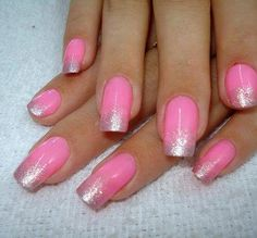 glitter pink ombre nail art, fingernails, funky manicures. sorry, i have no idea where i got this from, if you know or if u own it please post the details.