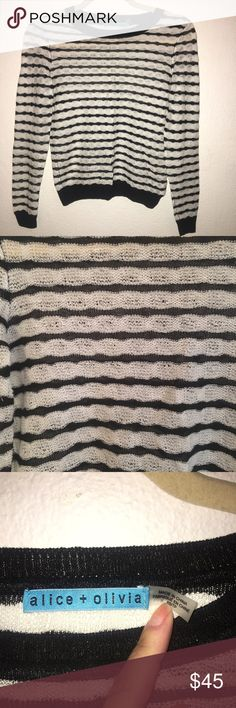 FLASH$⚡️ALICE+OLIVIA linen knit stripe sweater EUC. No signs of wear; no rips, snags or stains. 100% rayon. loose knit style. Retails for over $250+. size xs. Alice + Olivia Sweaters Crew & Scoop Necks