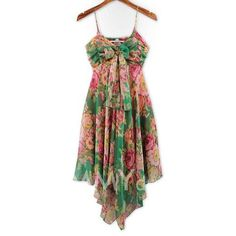 $8.89 Refreshing Spaghetti Strap Colorful Tiny Floral Print (Without the Tie) Chiffon Dress For Women