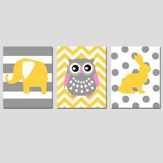 Nursery Animals Trio - Set of Three 11x14 Nursery Art Prints - Striped Elephant, Chevron Owl, Polka Dot Bunny Rabbit - CHOOSE YOUR COLORS on Etsy, $59.50