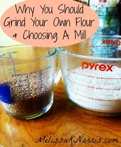 Ever wondered about grinding your own flour? Find out why it's healthier to grind your own flour and how to choose a mill that's right for your needs. We've been grinding our own flour for almost two years now and I love it. It helps with our food storage and I feel like a real pioneer. Read now to decide which option is best for you and your family.