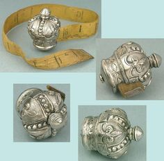 Antique English Sterling Silver Crown Tape Measure * Circa 1840