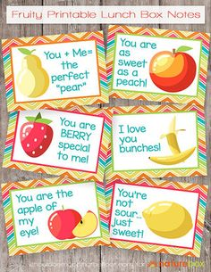 Free Fruity Printable Lunch Box Notes