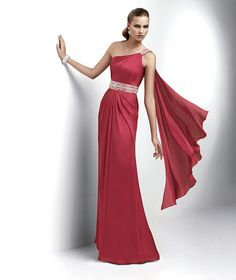 asymmetric design one shoulder beadings in sash floor length red evening dress