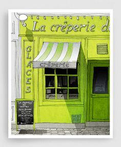 La Crêperie - Paris illustration Fine art illustration mixte illustration imprimer affiches Paris décor Paris café City imprime chaux cadeaux