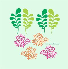 Coral and Seaweed wall decals  4 of each design by FairyDustDecals, $23.00